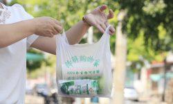Một chiếc túi sinh học có khả năng phân hủy được sử dụng để mua sắm